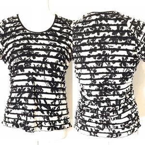 TanJay layered ruffle blouse, Blk & white, Sz PXS